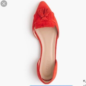 J. Crew Factory Suede Tassel D'orsay Flats Red